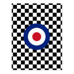 Checkered Black Racing Target Mod Postcard