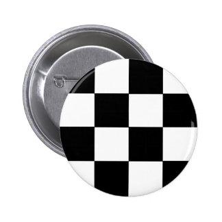 Checkered Black & White 2 Inch Round Button