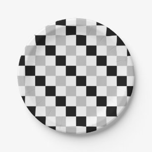 Checkered Black White and Gray Paper Plate  sc 1 st  Zazzle : black and white checkered paper plates - pezcame.com