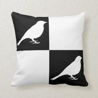 Checkered Black & White Bird Pillow