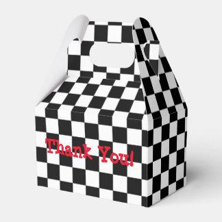 Checkered Black & White Birthday Party Favor Boxes