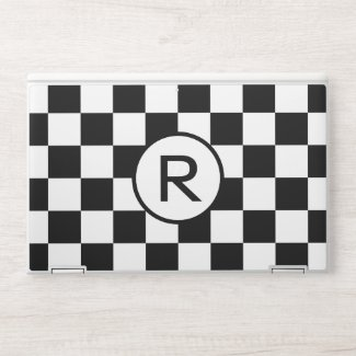 Checkered Black White Pattern with Monogram HP Laptop Skin