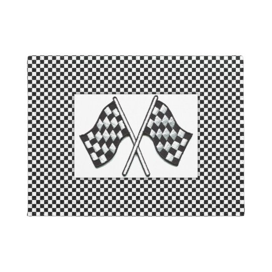 Checkered Black-White Race Car Flags Doormat