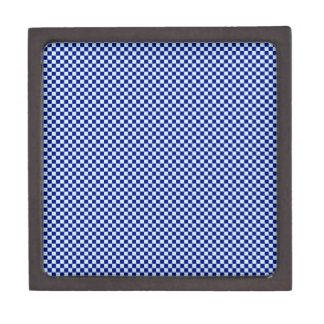 Checkered - Blue 2 - Pale Blue and Navy Blue Premium Trinket Box