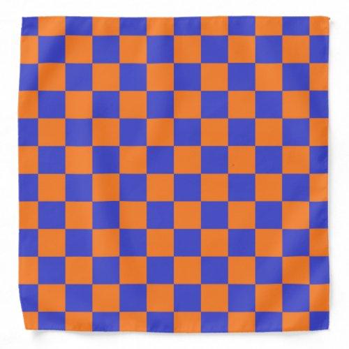 Checkered Blue and Orange Bandana