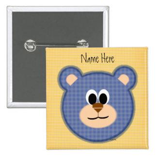 Checkered Blue Teddy Bear 2 Inch Square Button