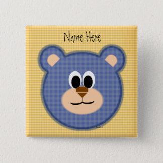 Checkered Blue Teddy Bear Button