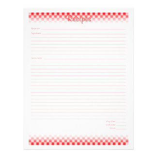 """Checkered Board Recipe Pages 8.5"""" X 11"""" Flyer"""