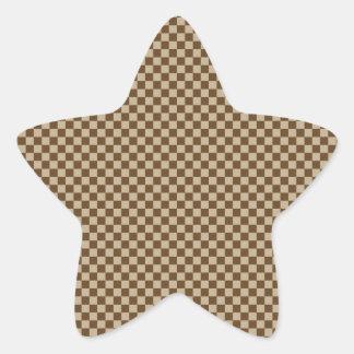 Checkered - Brown 2 - Khaki and Dark Brown Star Stickers