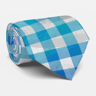 Checkered Buffalo Plaid Blue and White Neck Tie