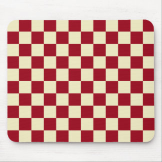 Checkered Burgundy and Cream Mouse Pad