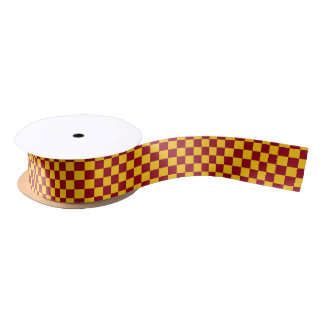 Checkered Burgundy and Gold Satin Ribbon