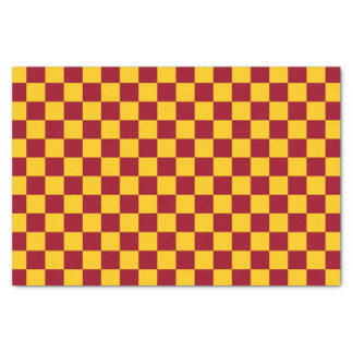 Checkered Burgundy and Gold Tissue Paper