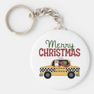 Checkered Cab Christmas Gift Basic Round Button Keychain