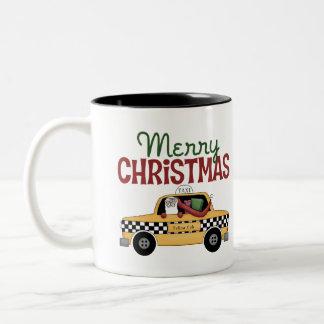 Checkered Cab Christmas Gift Two-Tone Coffee Mug