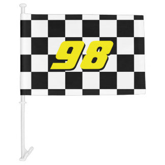 Checkered car window flag with auto racing number