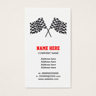 checkered, chequered motor racing flag business card