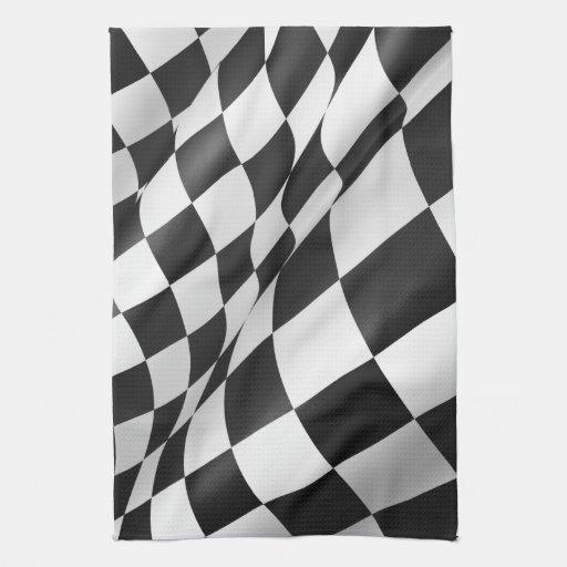 "Checkered Cloth Flag 16"" x 24"" Hand Towel"