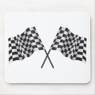 checkered cross flags mouse pad