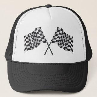 checkered cross flags trucker hat