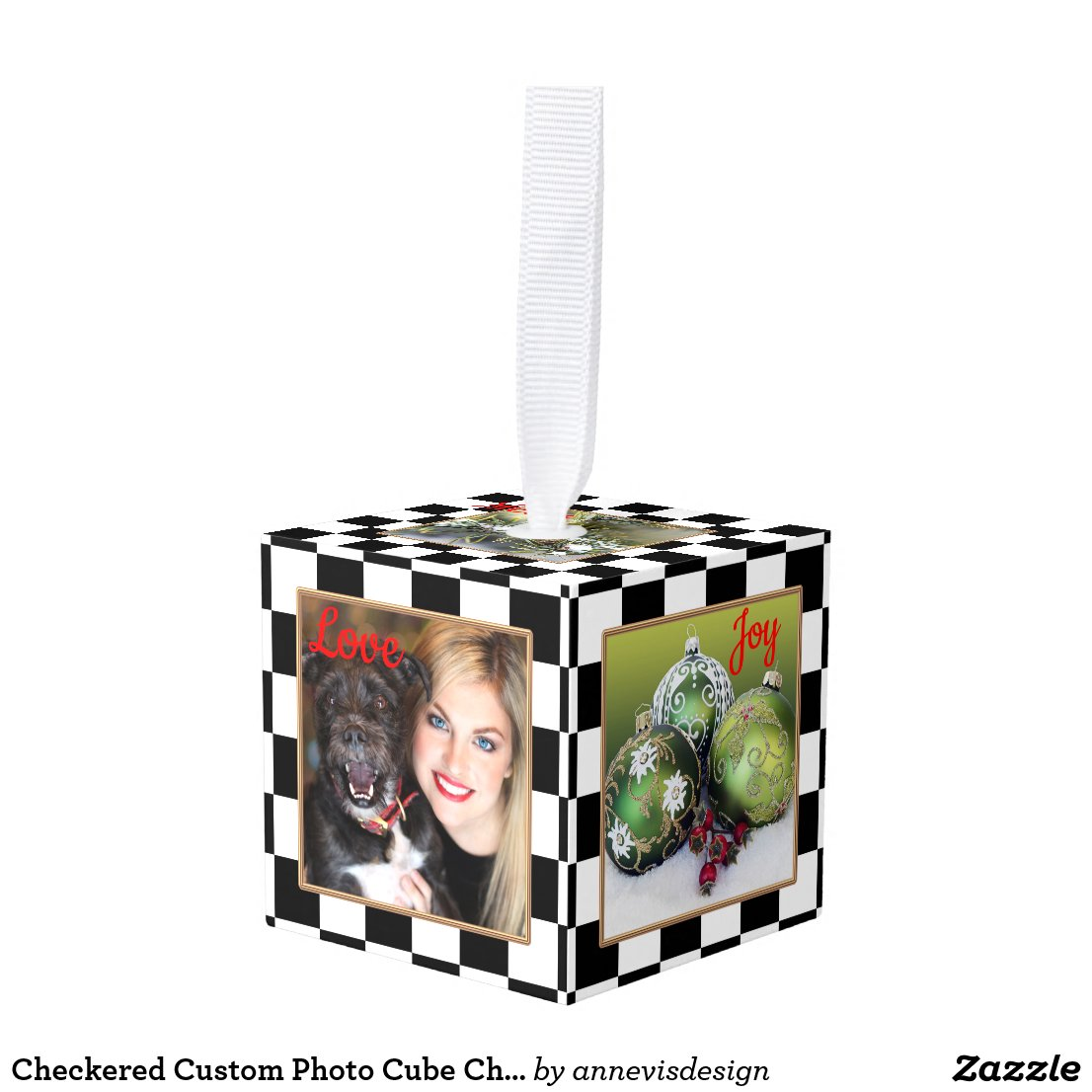 Checkered Custom Photo Cube Christmas Ornament