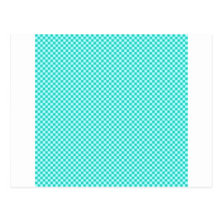 Checkered - Cyan - Celeste and Turquoise Postcard