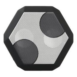 Checkered DarkGrey Dots Black Bluetooth Speaker