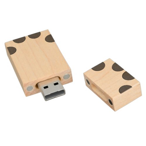 Checkered DarkGrey Dots Wood Flash Drive
