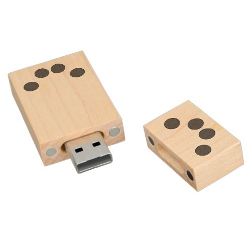 Checkered DarkGrey Dots Wood USB Flash Drive