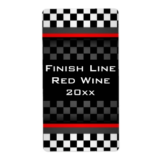 Checkered Design Homemade Wine Label
