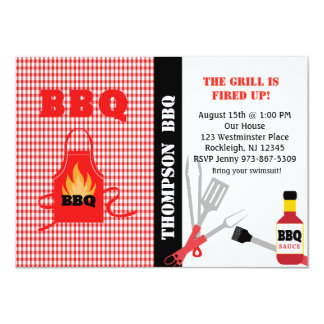 Checkered Fire Up The Grill BBQ Invitation