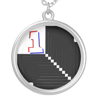 Checkered Flag 1 -_- Just Floor It -_- Number 1 Round Pendant Necklace