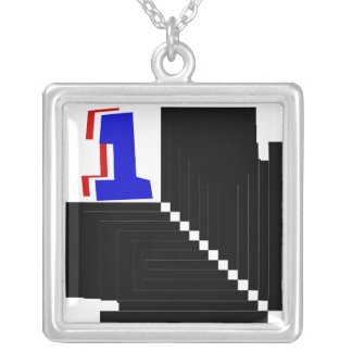 Checkered Flag 1 -_- Just Floor It -_- Number 1 Square Pendant Necklace