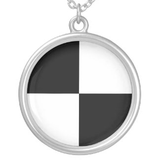 Checkered Flag 1 -_-The Big Race-_- Just Floor It Round Pendant Necklace