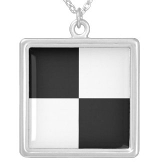 Checkered Flag 1 -_-The Big Race-_- Just Floor It Square Pendant Necklace
