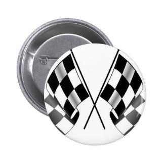 checkered flag 2 inch round button