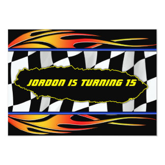Checkered flag and flames card