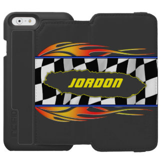 Checkered flag and flames iPhone 6/6s wallet case