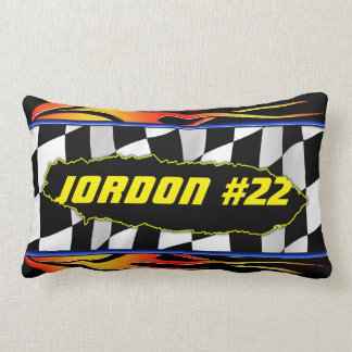 Checkered flag and flames throw pillow