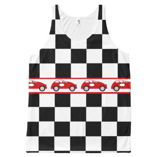 Checkered Flag and Race Cars All-Over Print Tank Top