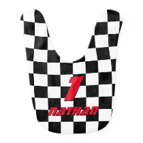 Checkered flag auto racing 1st birthday baby bib