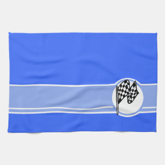 Checkered Flag; Blue Hand Towel