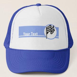 Checkered Flag; Blue Trucker Hat