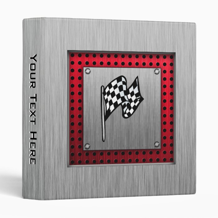 Checkered Flag; brushed aluminum look Binder