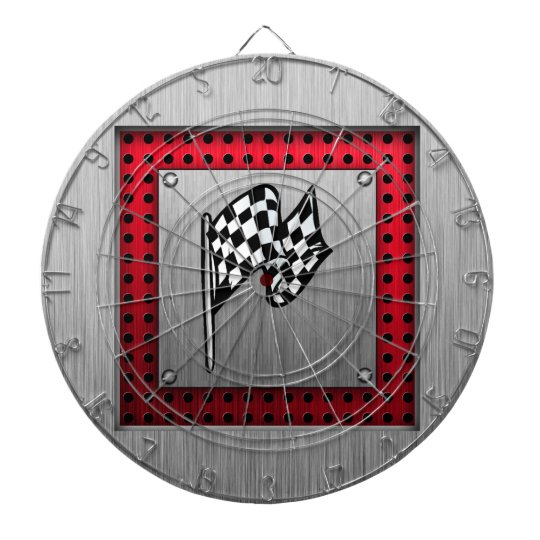 Checkered Flag; brushed aluminum look Dart Board