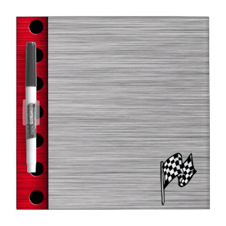 Checkered Flag; brushed aluminum look Dry-Erase Board