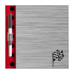 Checkered Flag; brushed aluminum look Dry Erase Whiteboards