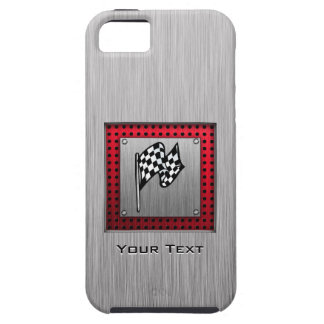 Checkered Flag; brushed aluminum look iPhone SE/5/5s Case