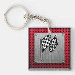Checkered Flag; brushed aluminum look Acrylic Keychains