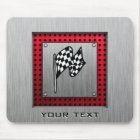 Checkered Flag; brushed aluminum look Mouse Pad